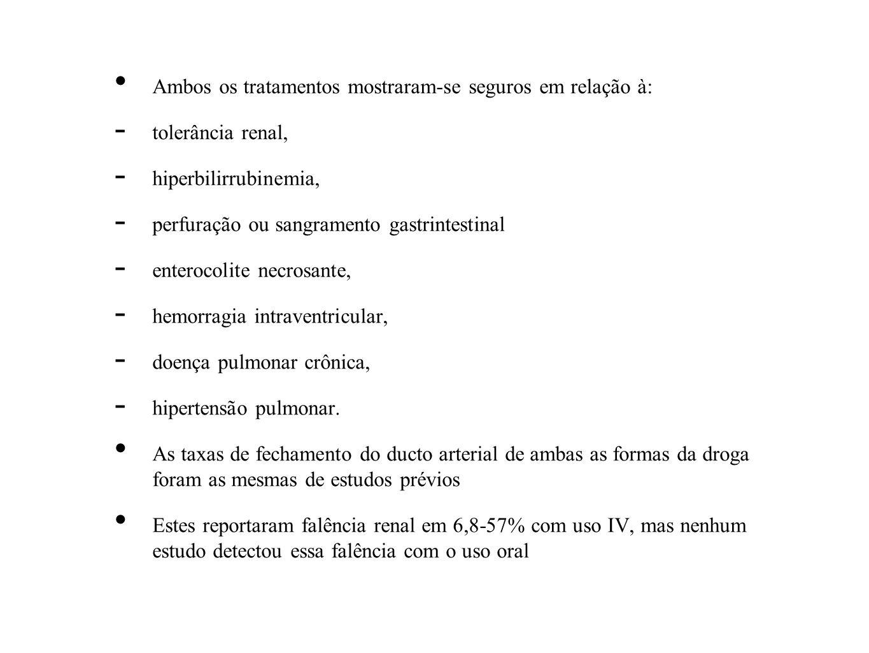 Ambos os tratamentos mostraram-se seguros em relação à: - tolerância renal, - hiperbilirrubinemia, - perfuração ou sangramento gastrintestinal - enter