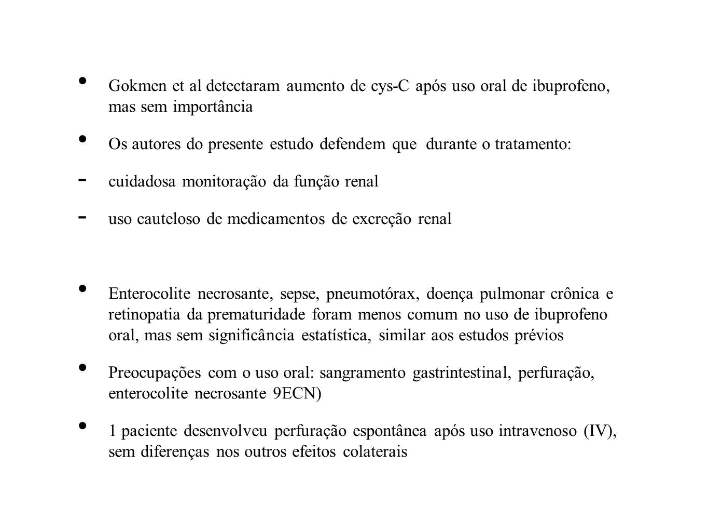 Gokmen et al detectaram aumento de cys-C após uso oral de ibuprofeno, mas sem importância Os autores do presente estudo defendem que durante o tratame