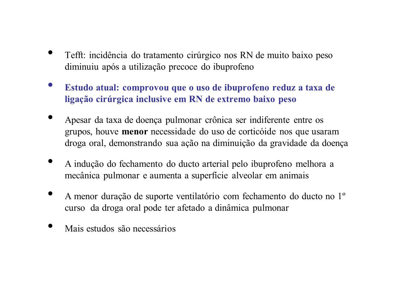 Tefft: incidência do tratamento cirúrgico nos RN de muito baixo peso diminuiu após a utilização precoce do ibuprofeno Estudo atual: comprovou que o us