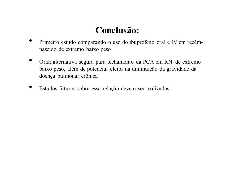 Conclusão: Primeiro estudo comparando o uso do ibuprofeno oral e IV em recém- nascido de extremo baixo peso Oral: alternativa segura para fechamento d