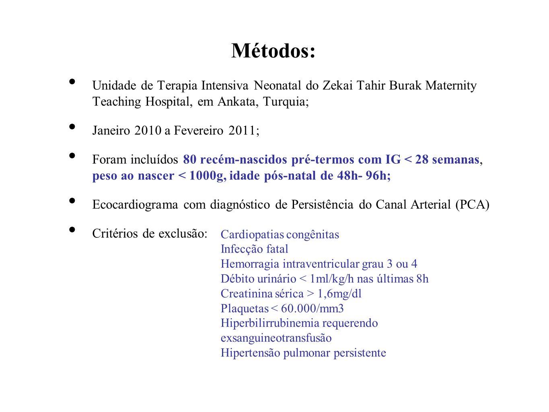 Métodos: Unidade de Terapia Intensiva Neonatal do Zekai Tahir Burak Maternity Teaching Hospital, em Ankata, Turquia; Janeiro 2010 a Fevereiro 2011; Fo