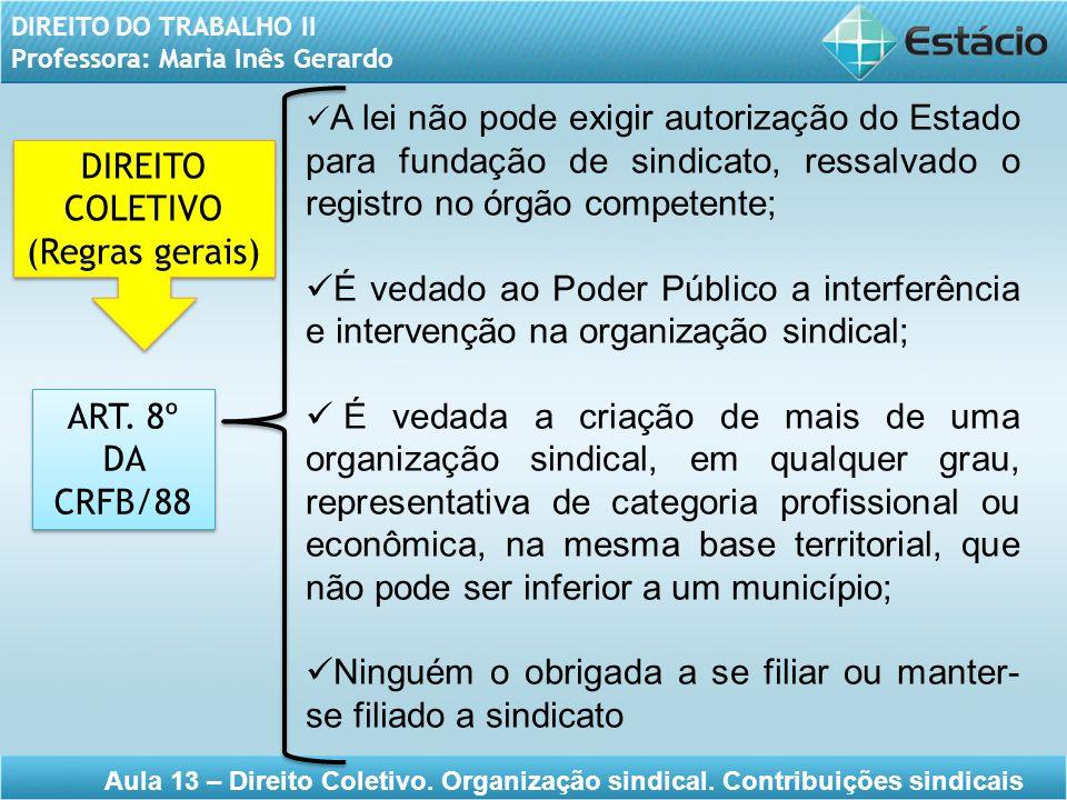 DIREITO DO TRABALHO II Professora: Maria Inês Gerardo Aula 13 – Direito Coletivo. Organização sindical. Contribuições sindicais ART. 8º DA CRFB/88 ART