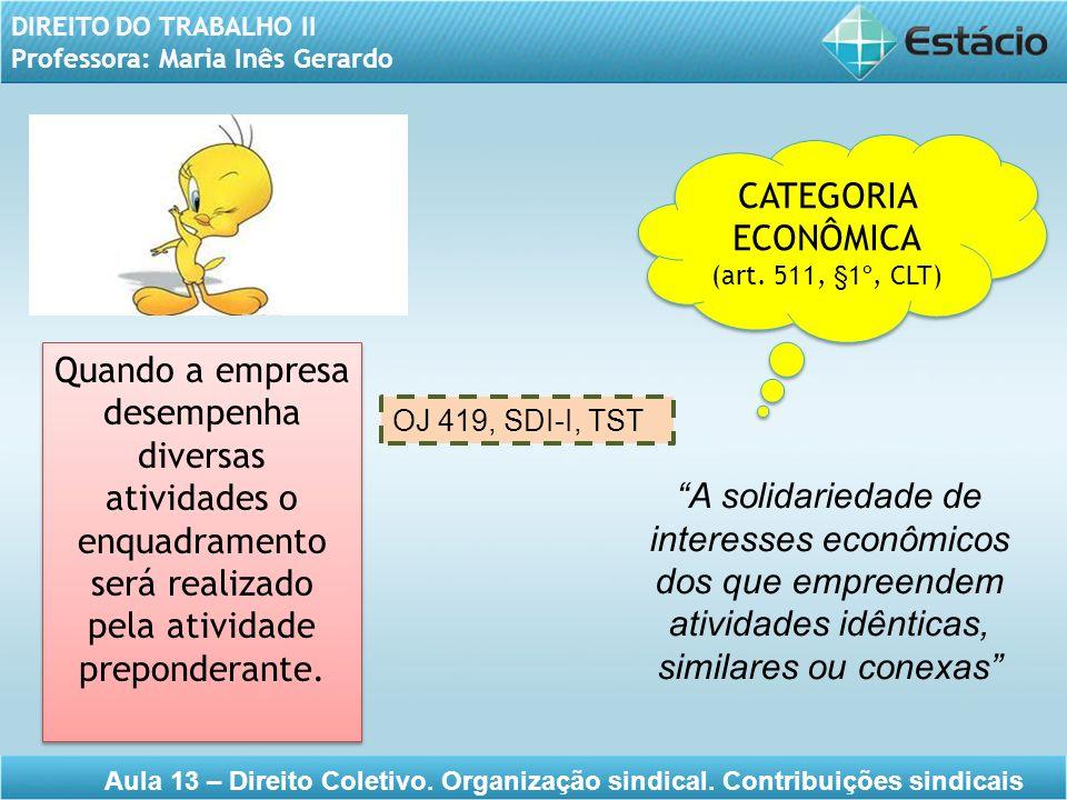 DIREITO DO TRABALHO II Professora: Maria Inês Gerardo Aula 13 – Direito Coletivo. Organização sindical. Contribuições sindicais CATEGORIA ECONÔMICA (a