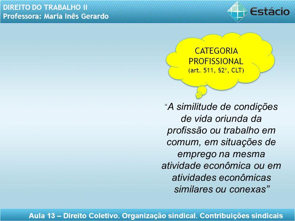 DIREITO DO TRABALHO II Professora: Maria Inês Gerardo Aula 13 – Direito Coletivo. Organização sindical. Contribuições sindicais CATEGORIA PROFISSIONAL