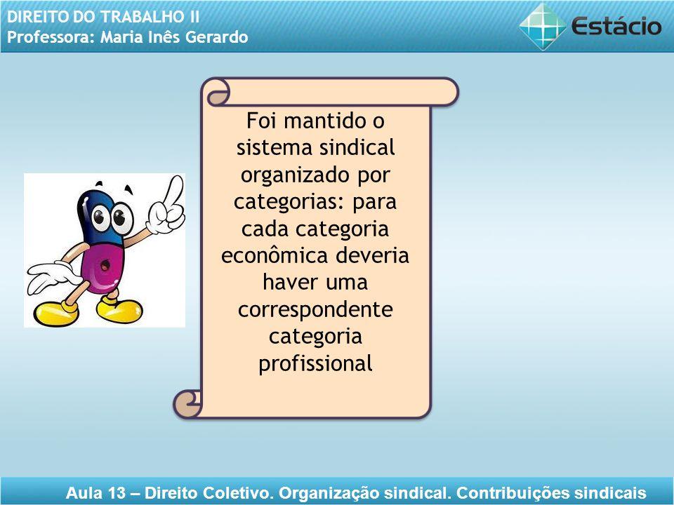 DIREITO DO TRABALHO II Professora: Maria Inês Gerardo Aula 13 – Direito Coletivo. Organização sindical. Contribuições sindicais Foi mantido o sistema