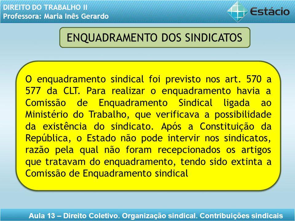 DIREITO DO TRABALHO II Professora: Maria Inês Gerardo Aula 13 – Direito Coletivo. Organização sindical. Contribuições sindicais O enquadramento sindic