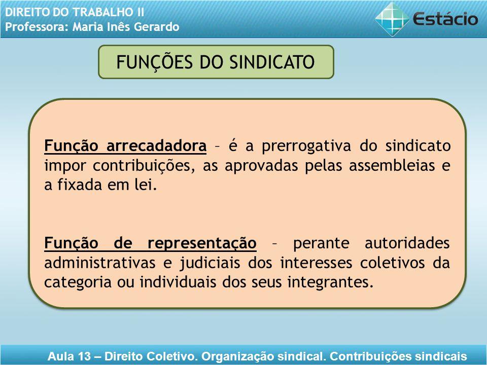 DIREITO DO TRABALHO II Professora: Maria Inês Gerardo Aula 13 – Direito Coletivo. Organização sindical. Contribuições sindicais Função arrecadadora –