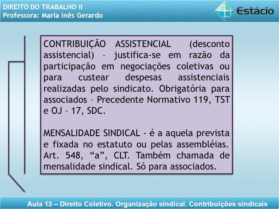 DIREITO DO TRABALHO II Professora: Maria Inês Gerardo Aula 13 – Direito Coletivo. Organização sindical. Contribuições sindicais CONTRIBUIÇÃO ASSISTENC