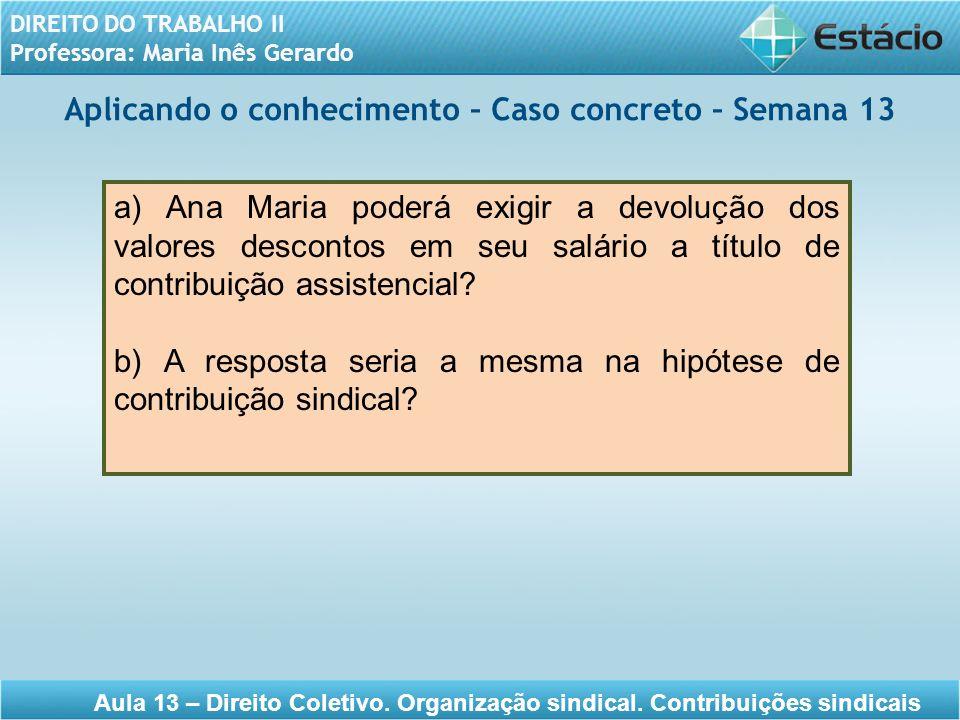 DIREITO DO TRABALHO II Professora: Maria Inês Gerardo Aula 13 – Direito Coletivo. Organização sindical. Contribuições sindicais Aplicando o conhecimen