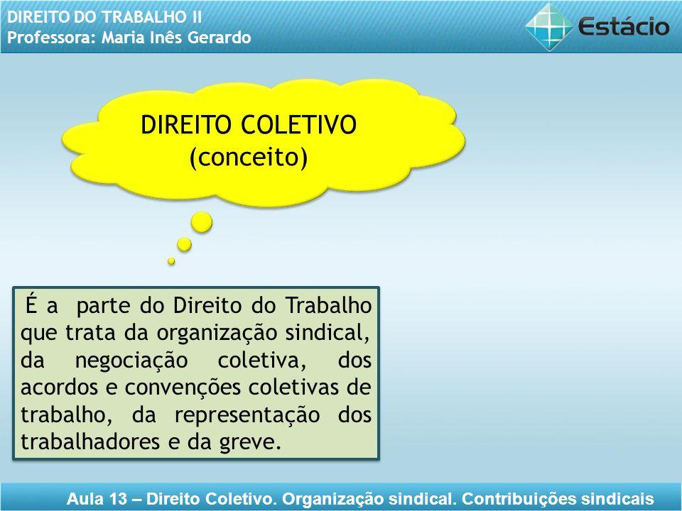 DIREITO DO TRABALHO II Professora: Maria Inês Gerardo Aula 13 – Direito Coletivo. Organização sindical. Contribuições sindicais DIREITO COLETIVO (conc