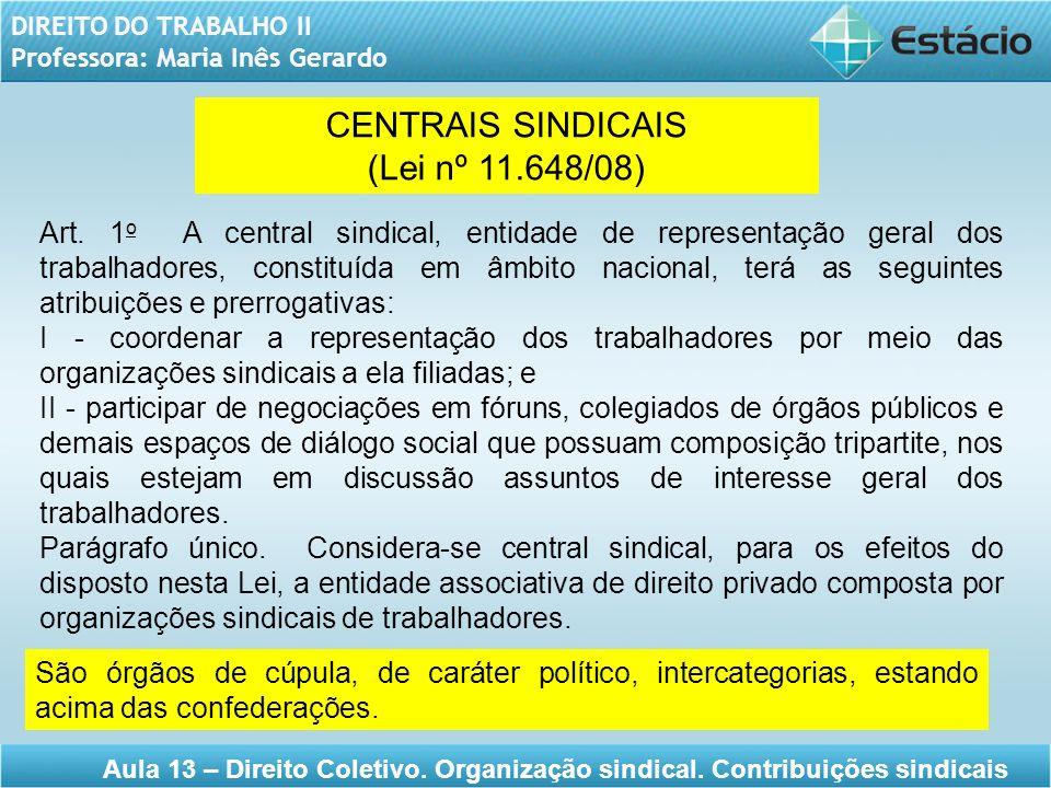 DIREITO DO TRABALHO II Professora: Maria Inês Gerardo Aula 13 – Direito Coletivo. Organização sindical. Contribuições sindicais CENTRAIS SINDICAIS (Le