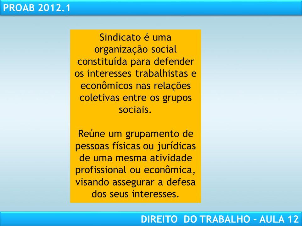 RESPONSABILIDADE CIVIL AULA 1 PROAB 2012.1 DIREITO DO TRABALHO – AULA 12 Sindicato é uma organização social constituída para defender os interesses tr