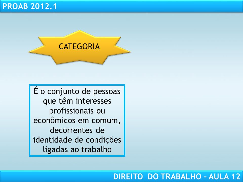 RESPONSABILIDADE CIVIL AULA 1 PROAB 2012.1 DIREITO DO TRABALHO – AULA 12 É o conjunto de pessoas que têm interesses profissionais ou econômicos em comum, decorrentes de identidade de condições ligadas ao trabalho CATEGORIA