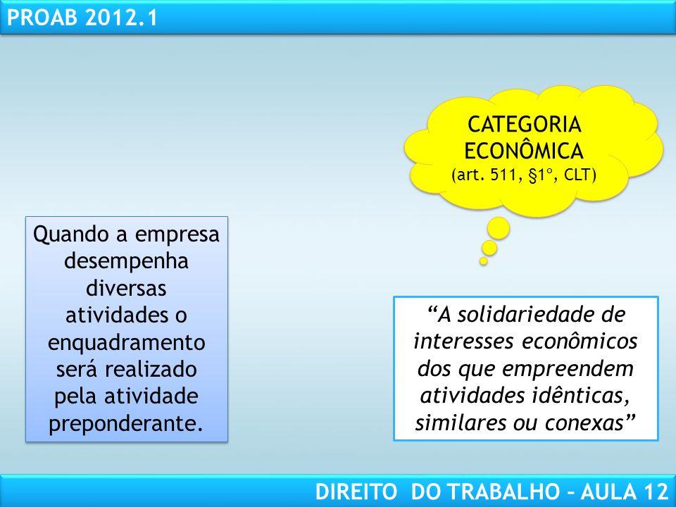 RESPONSABILIDADE CIVIL AULA 1 PROAB 2012.1 DIREITO DO TRABALHO – AULA 12 CATEGORIA ECONÔMICA (art. 511, §1º, CLT) CATEGORIA ECONÔMICA (art. 511, §1º,