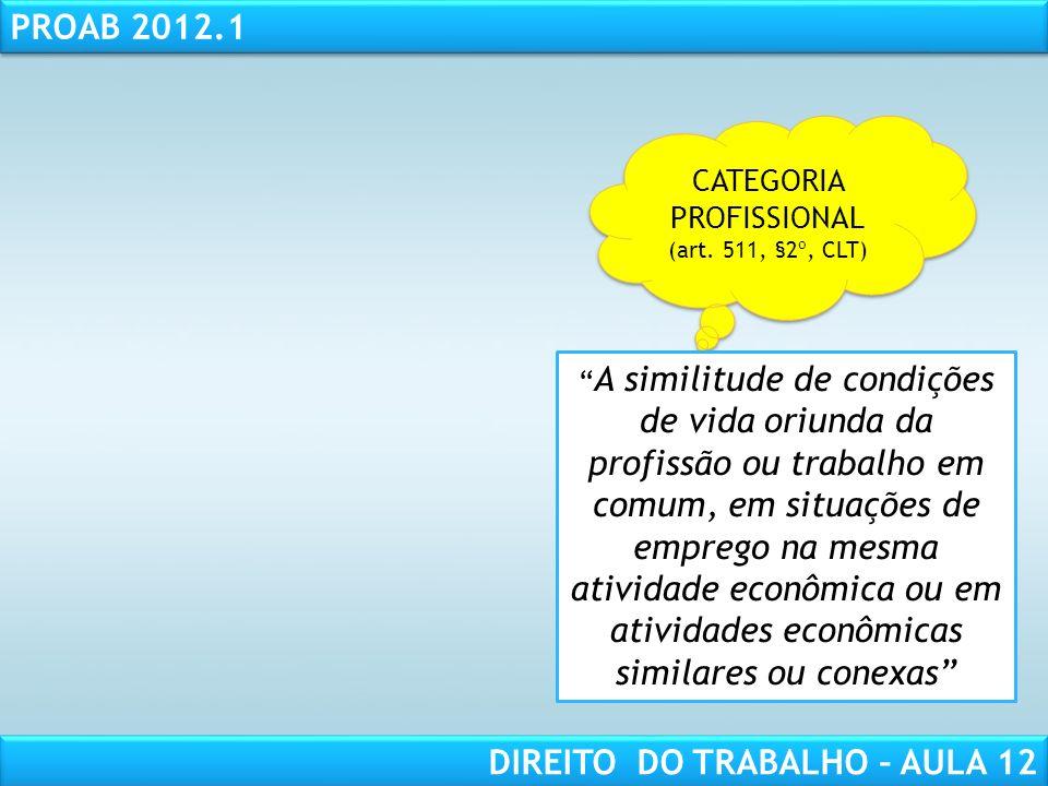 RESPONSABILIDADE CIVIL AULA 1 PROAB 2012.1 DIREITO DO TRABALHO – AULA 12 CATEGORIA PROFISSIONAL (art. 511, §2º, CLT) CATEGORIA PROFISSIONAL (art. 511,