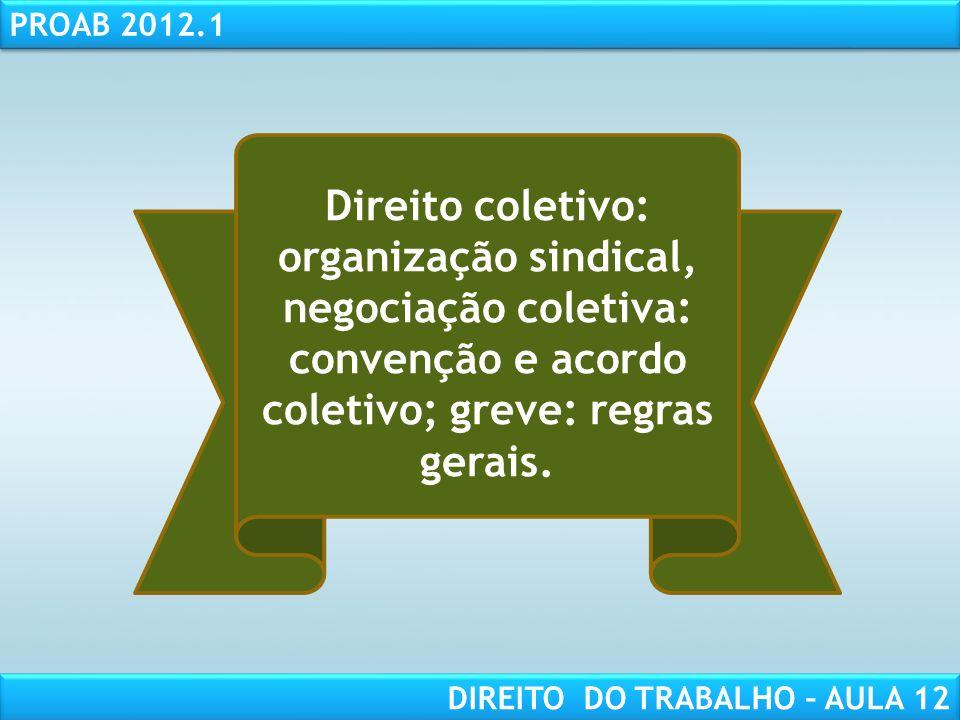 RESPONSABILIDADE CIVIL AULA 1 PROAB 2012.1 DIREITO DO TRABALHO – AULA 12 Direito coletivo: organização sindical, negociação coletiva: convenção e acor