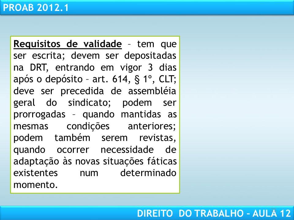 RESPONSABILIDADE CIVIL AULA 1 PROAB 2012.1 DIREITO DO TRABALHO – AULA 12 25 Requisitos de validade – tem que ser escrita; devem ser depositadas na DRT