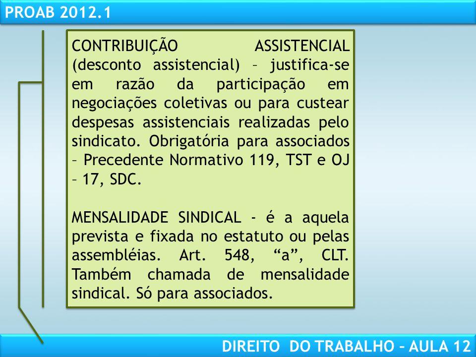 RESPONSABILIDADE CIVIL AULA 1 PROAB 2012.1 DIREITO DO TRABALHO – AULA 12 CONTRIBUIÇÃO ASSISTENCIAL (desconto assistencial) – justifica-se em razão da