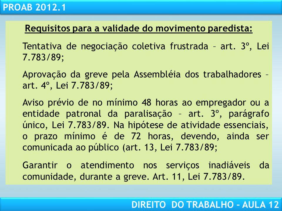 RESPONSABILIDADE CIVIL AULA 1 PROAB 2012.1 DIREITO DO TRABALHO – AULA 12 Requisitos para a validade do movimento paredista: Tentativa de negociação co