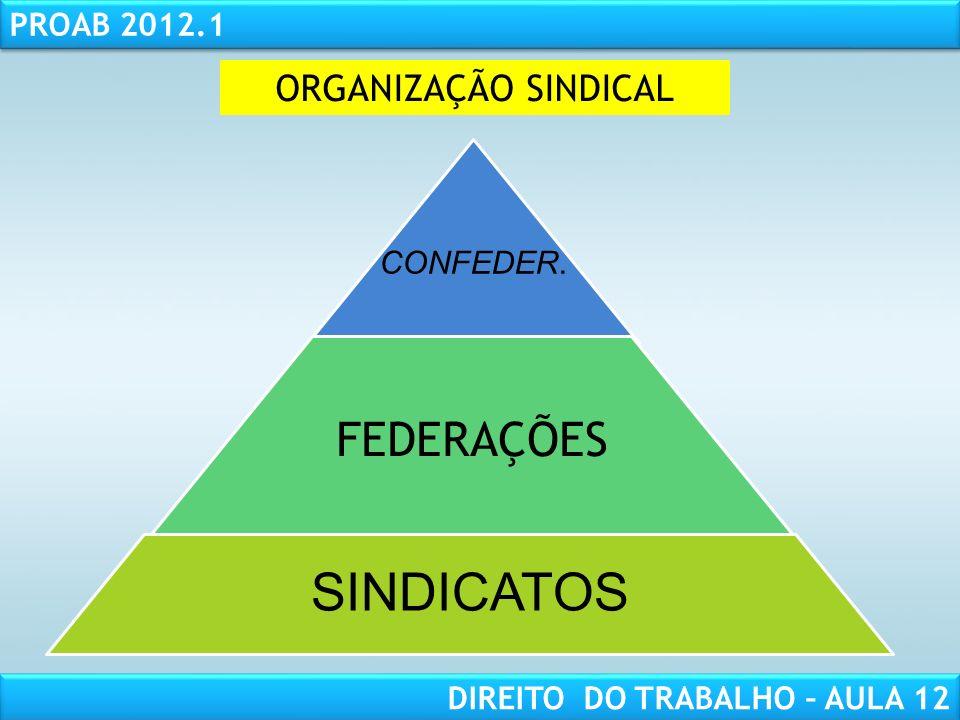 RESPONSABILIDADE CIVIL AULA 1 PROAB 2012.1 DIREITO DO TRABALHO – AULA 12 CENTRAIS SINDICAIS (Lei nº 11.648/08) Art.