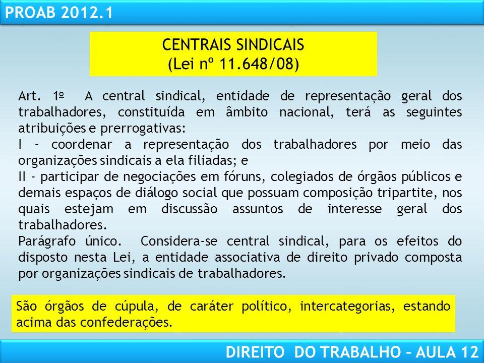 RESPONSABILIDADE CIVIL AULA 1 PROAB 2012.1 DIREITO DO TRABALHO – AULA 12 CENTRAIS SINDICAIS (Lei nº 11.648/08) Art. 1 o A central sindical, entidade d