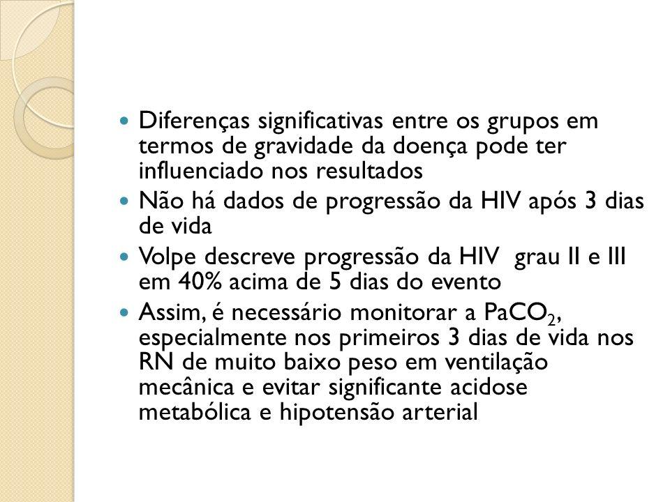 Diferenças significativas entre os grupos em termos de gravidade da doença pode ter influenciado nos resultados Não há dados de progressão da HIV após