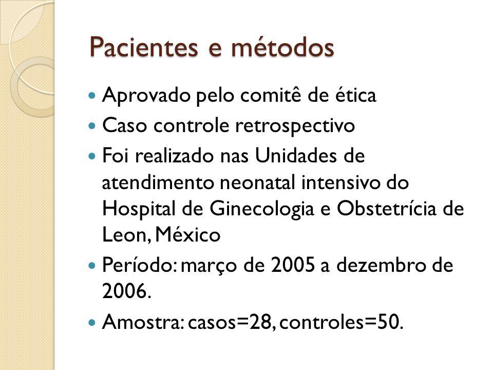 Pacientes e métodos Aprovado pelo comitê de ética Caso controle retrospectivo Foi realizado nas Unidades de atendimento neonatal intensivo do Hospital