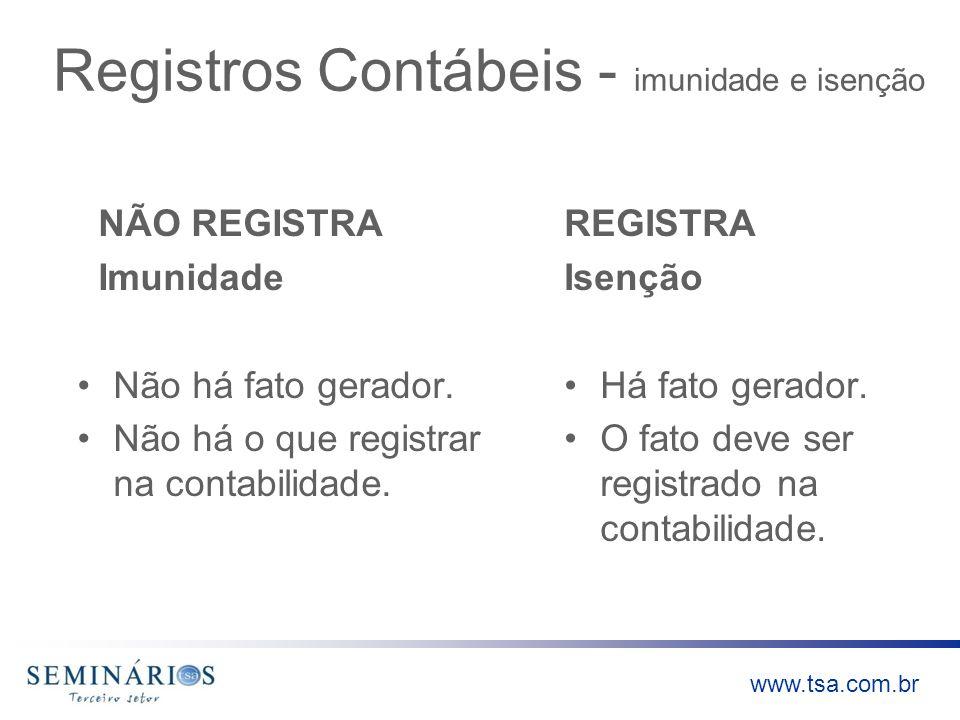 www.tsa.com.br Registros Contábeis - imunidade e isenção NÃO REGISTRA Imunidade Não há fato gerador. Não há o que registrar na contabilidade. REGISTRA