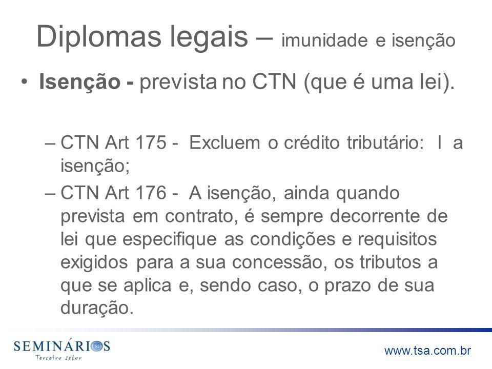www.tsa.com.br Diplomas legais – imunidade e isenção Isenção - prevista no CTN (que é uma lei). –CTN Art 175 - Excluem o crédito tributário: I a isenç