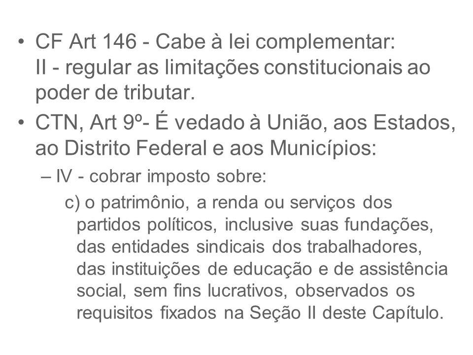 CF Art 146 - Cabe à lei complementar: II - regular as limitações constitucionais ao poder de tributar. CTN, Art 9º- É vedado à União, aos Estados, ao