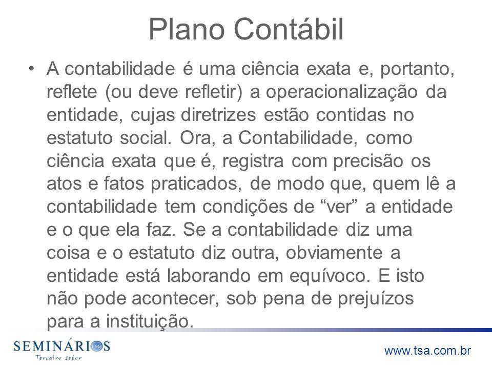 www.tsa.com.br Plano Contábil A contabilidade é uma ciência exata e, portanto, reflete (ou deve refletir) a operacionalização da entidade, cujas diret