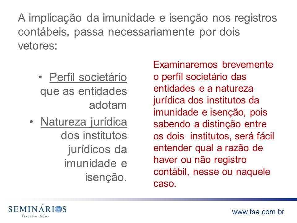 www.tsa.com.br A implicação da imunidade e isenção nos registros contábeis, passa necessariamente por dois vetores: Perfil societário que as entidades