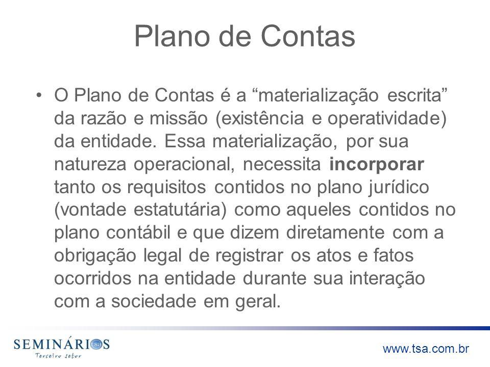 www.tsa.com.br Plano de Contas O Plano de Contas é a materialização escrita da razão e missão (existência e operatividade) da entidade. Essa materiali