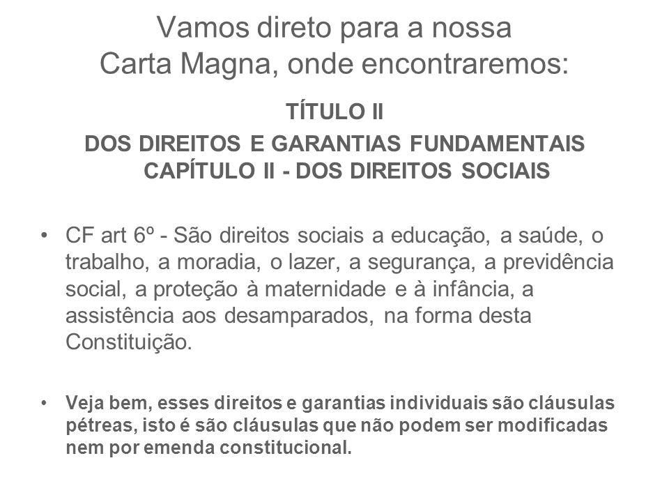 Vamos direto para a nossa Carta Magna, onde encontraremos: TÍTULO II DOS DIREITOS E GARANTIAS FUNDAMENTAIS CAPÍTULO II - DOS DIREITOS SOCIAIS CF art 6