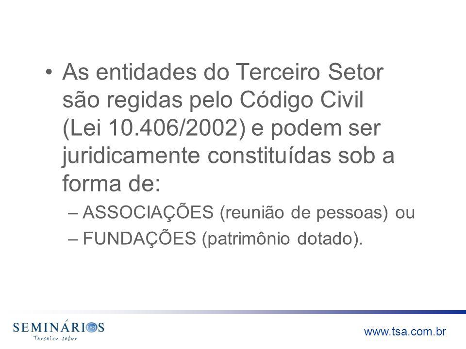 www.tsa.com.br As entidades do Terceiro Setor são regidas pelo Código Civil (Lei 10.406/2002) e podem ser juridicamente constituídas sob a forma de: –