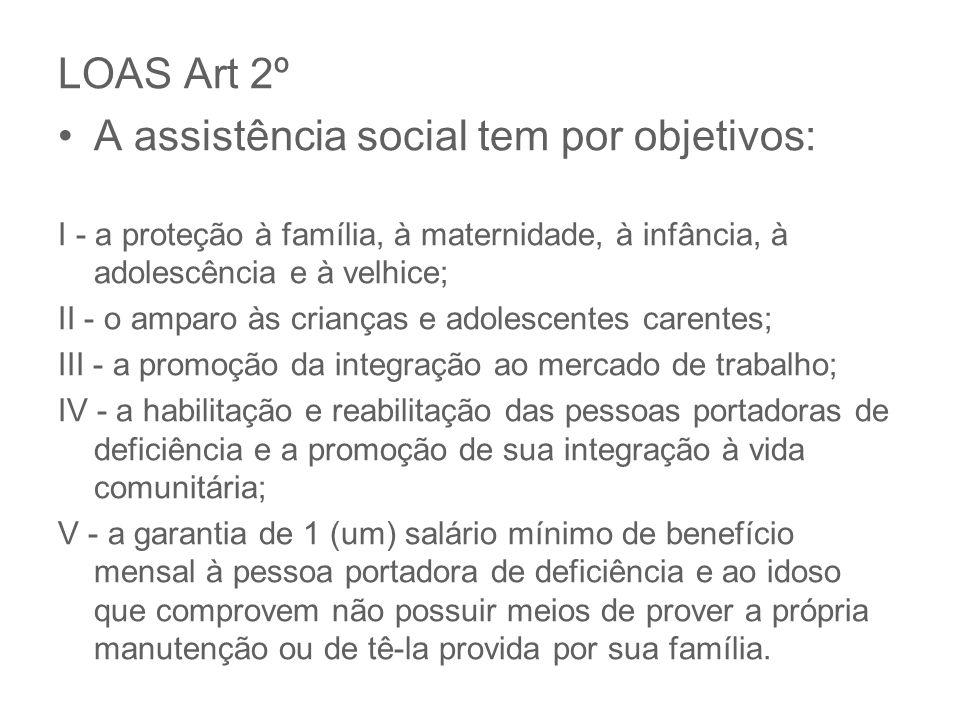 LOAS Art 2º A assistência social tem por objetivos: I - a proteção à família, à maternidade, à infância, à adolescência e à velhice; II - o amparo às