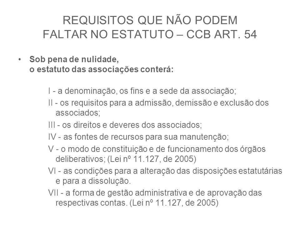 REQUISITOS QUE NÃO PODEM FALTAR NO ESTATUTO – CCB ART. 54 Sob pena de nulidade, o estatuto das associações conterá: I - a denominação, os fins e a sed