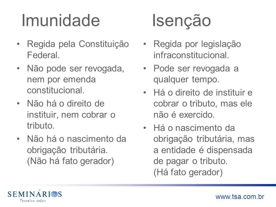 www.tsa.com.br Imunidade Isenção Regida pela Constituição Federal. Não pode ser revogada, nem por emenda constitucional. Não há o direito de instituir