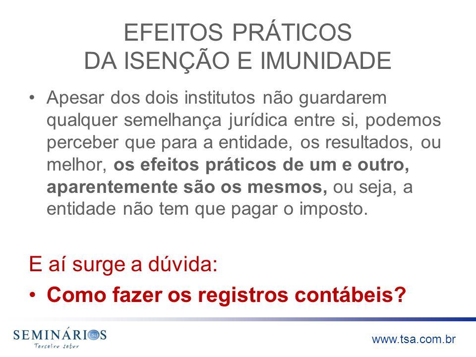 www.tsa.com.br EFEITOS PRÁTICOS DA ISENÇÃO E IMUNIDADE Apesar dos dois institutos não guardarem qualquer semelhança jurídica entre si, podemos percebe