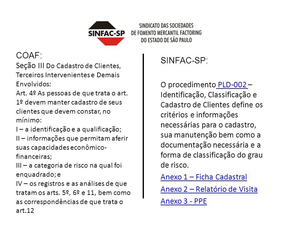 COAF: Seção III Do Cadastro de Clientes, Terceiros Intervenientes e Demais Envolvidos: Art.