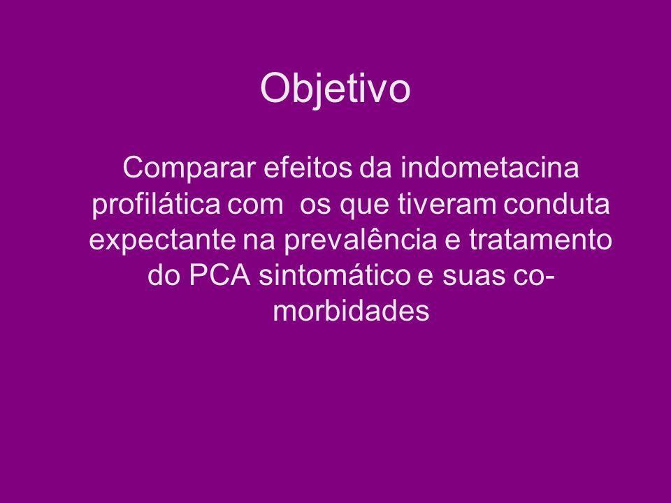 Objetivo Comparar efeitos da indometacina profilática com os que tiveram conduta expectante na prevalência e tratamento do PCA sintomático e suas co- morbidades
