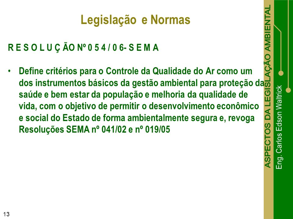 R E S O L U Ç ÃO Nº 0 5 4 / 0 6- S E M A Define critérios para o Controle da Qualidade do Ar como um dos instrumentos básicos da gestão ambiental para