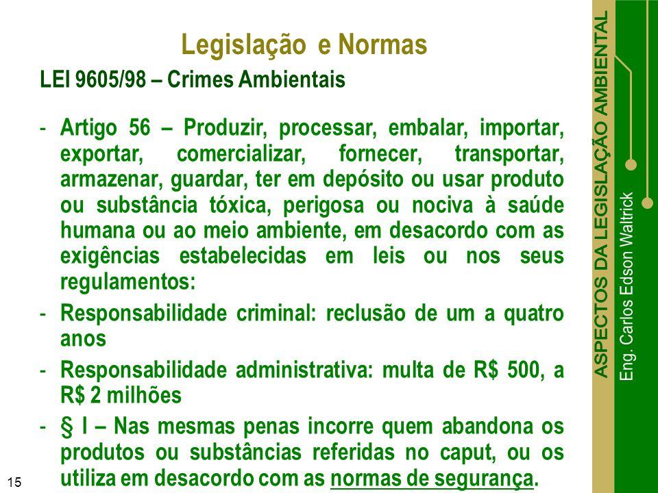 15 LEI 9605/98 – Crimes Ambientais - Artigo 56 – Produzir, processar, embalar, importar, exportar, comercializar, fornecer, transportar, armazenar, gu