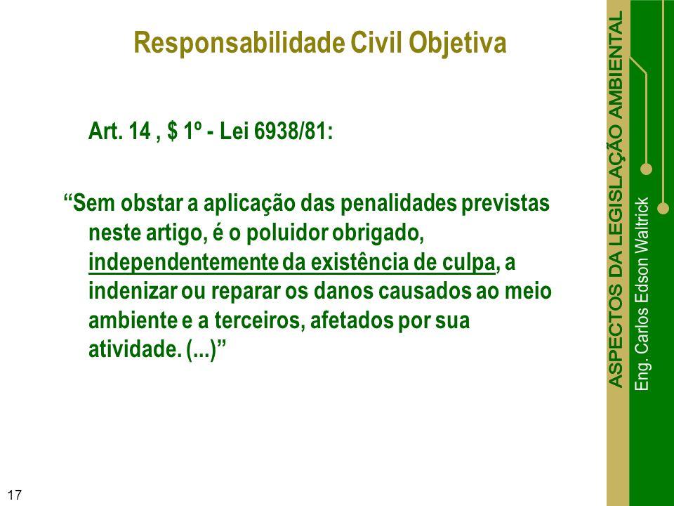 17 Art. 14, $ 1º - Lei 6938/81: Sem obstar a aplicação das penalidades previstas neste artigo, é o poluidor obrigado, independentemente da existência