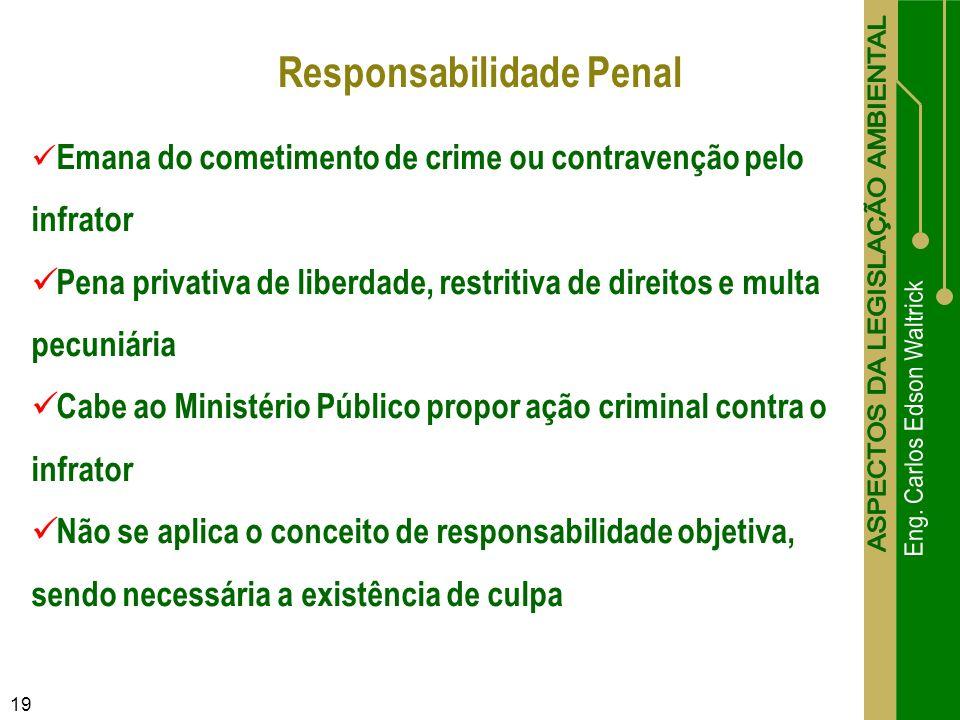 19 Emana do cometimento de crime ou contravenção pelo infrator Pena privativa de liberdade, restritiva de direitos e multa pecuniária Cabe ao Ministér