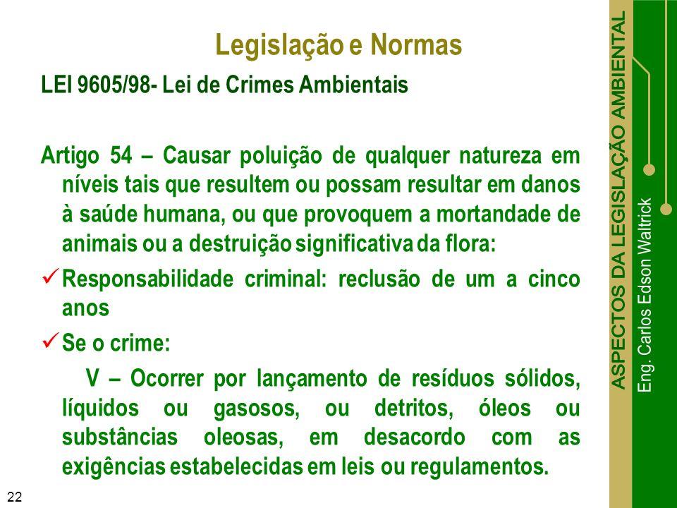22 LEI 9605/98- Lei de Crimes Ambientais Artigo 54 – Causar poluição de qualquer natureza em níveis tais que resultem ou possam resultar em danos à sa