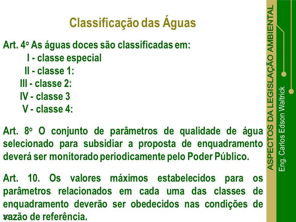 23 Classificação das Águas Art. 4 o As águas doces são classificadas em: I - classe especial II - classe 1: III - classe 2: IV - classe 3 V - classe 4