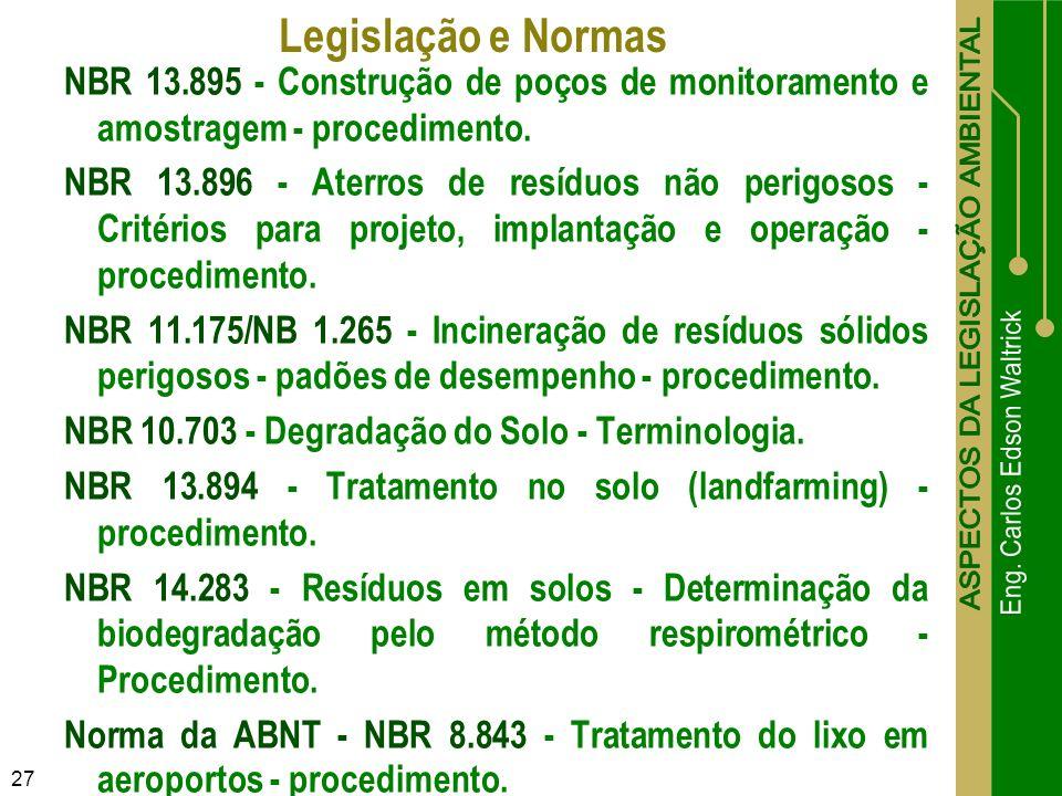 27 NBR 13.895 - Construção de poços de monitoramento e amostragem - procedimento. NBR 13.896 - Aterros de resíduos não perigosos - Critérios para proj