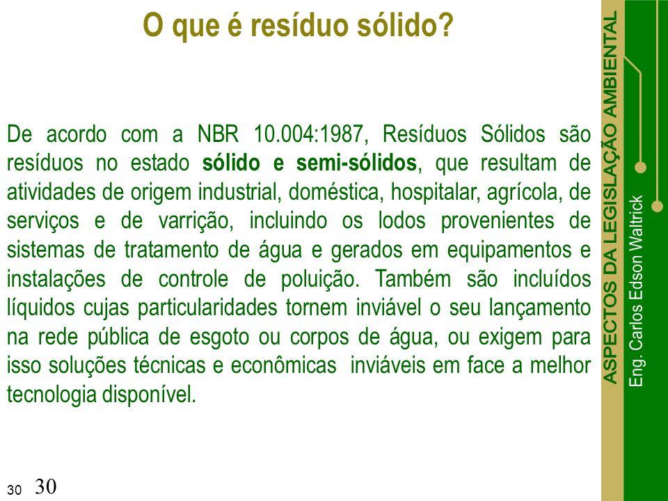 30 O que é resíduo sólido? De acordo com a NBR 10.004:1987, Resíduos Sólidos são resíduos no estado sólido e semi-sólidos, que resultam de atividades