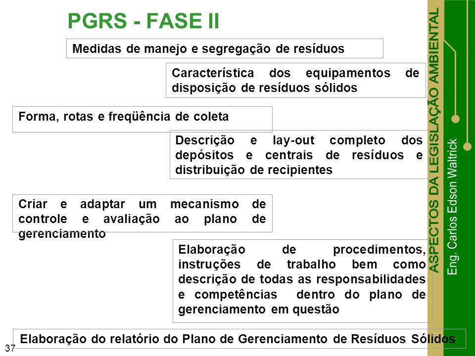 37 PGRS - FASE II Medidas de manejo e segregação de resíduos Característica dos equipamentos de disposição de resíduos sólidos Forma, rotas e freqüênc